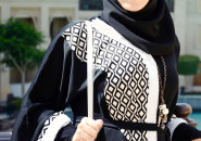 Abaya with strass or trim